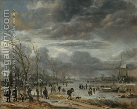 A Winter Lanscape With Figures Battling Across A Frozen River In A Snowstorm, A Post Mill To The Right by Aert van der Neer - Reproduction Oil Painting