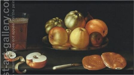 Still Life With Apples And Other Fruit On A Tazza, Together With A Glass Of Beer by Cornelis Jacobsz Delff - Reproduction Oil Painting