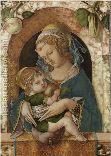 The Madonna And Child At A Marble Parapet, An Apple And A Gourd Hanging From A Niche Behind by Carlo Crivelli - Reproduction Oil Painting