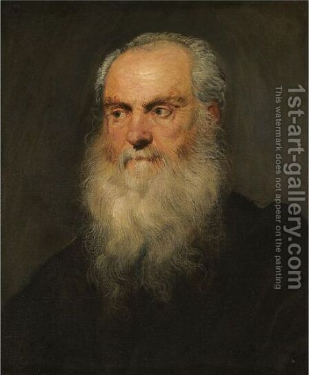 Portrait Of A An Elderly Bearded Man, Head And Shoulders by Jacopo Tintoretto (Robusti) - Reproduction Oil Painting