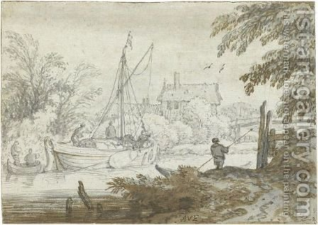 River Scene With A Masted Boat Unloading Its Goods And A Figure Punting In The Foreground by Allaert van Everdingen - Reproduction Oil Painting