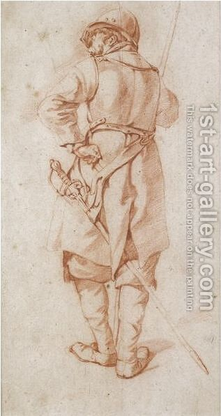 A Standing Soldier, Seen From Behind by (after) Cornelis (Pietersz.) Bega - Reproduction Oil Painting
