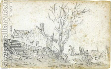 Figures Before An Inn At Houtewael by Jan van Goyen - Reproduction Oil Painting