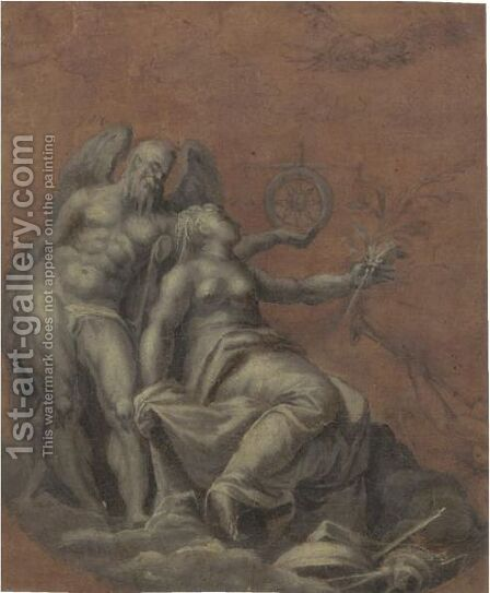 Allegorical Figures Of Time, Peace And Fame by (after) Giovanni Battista Zelotti - Reproduction Oil Painting