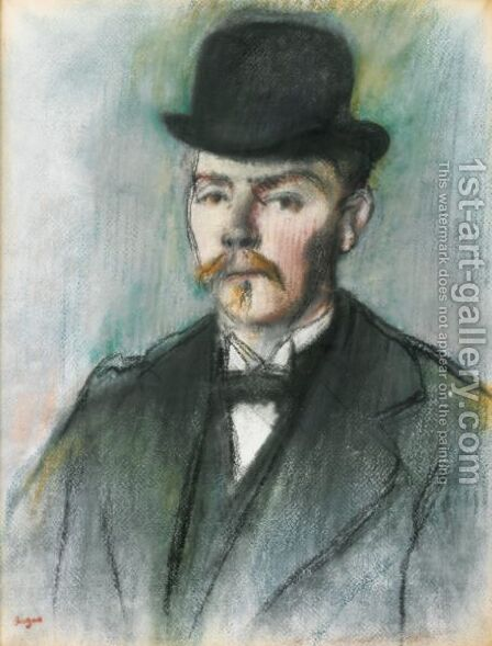 Alexis Rouart (Buste D'Homme En Chapeau Melon) by Edgar Degas - Reproduction Oil Painting