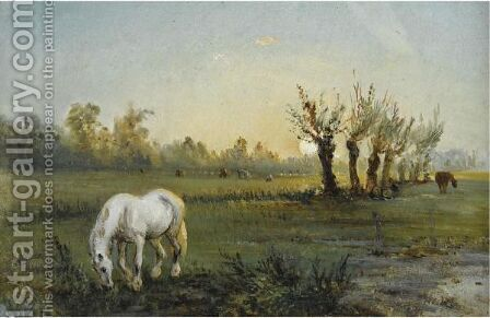 Cheval Blanc Dans Un Pre by Camille Pissarro - Reproduction Oil Painting