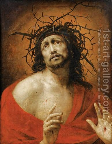 Christ With The Crown Of Thorns by Ecole Francaise, Xixeme Siecle - Reproduction Oil Painting