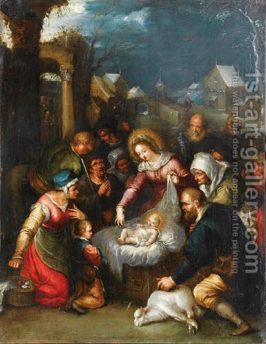 L'Adoration Des Bergers by (after) Cornelis De Baellieur I - Reproduction Oil Painting
