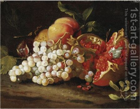 Natura Morta Con Uva, Melagrana E Pesche by Abraham Brueghel - Reproduction Oil Painting