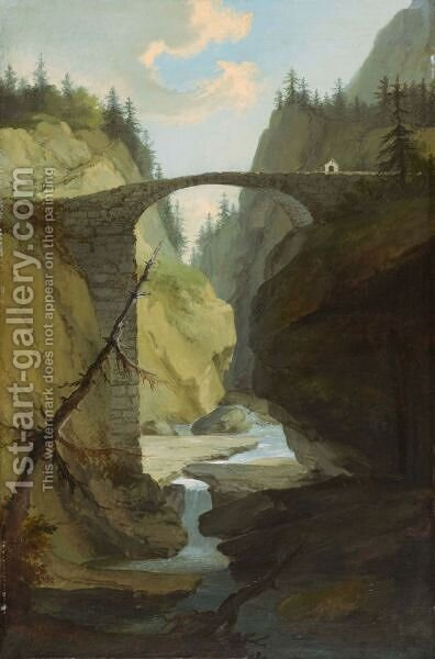 Brucke Uber Die Muota In Der Nahe Von Schwyz  Bridge Over The Muota Near Schwyz by Caspar Wolf - Reproduction Oil Painting