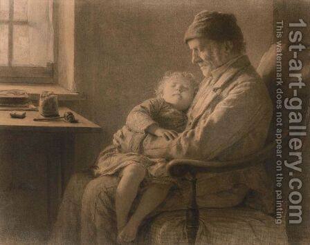 Grossvater Mit Schlafender Enkelin Grandfather With Sleeping Granddaughter by Albert Anker - Reproduction Oil Painting