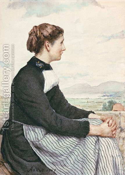 Sitting Farmers Girl (Lake Neuchatel In The Background ), 1909 by Albert Anker - Reproduction Oil Painting