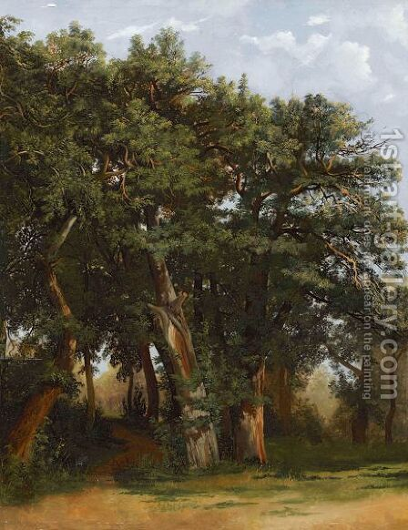 Groupe De Chenes  Group Of Oak Trees by Alexandre Calame - Reproduction Oil Painting