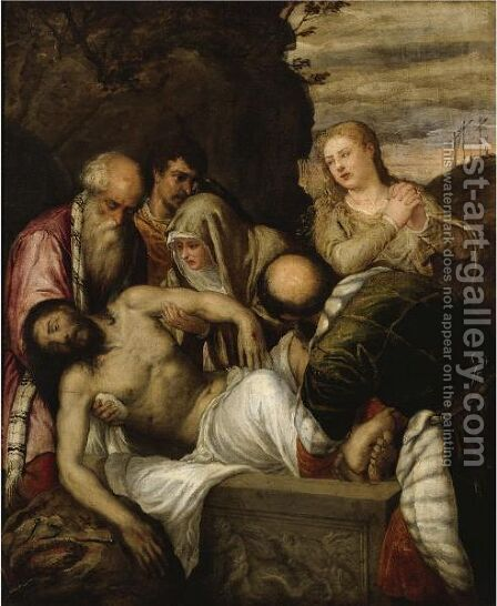 The Entombment Of Christ by (after) Tiziano Vecellio (Titian) - Reproduction Oil Painting