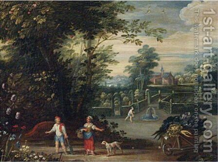 Landscape With Figures by (after) Jasper Van Der Laanen - Reproduction Oil Painting