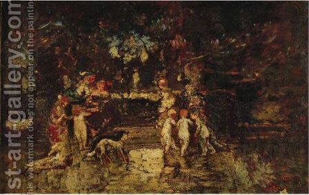 Fete Dans Le Parc by Adolphe Joseph Thomas Monticelli - Reproduction Oil Painting