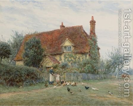 Feeding Time At The Cottage by Helen Mary Elizabeth Allingham, R.W.S. - Reproduction Oil Painting