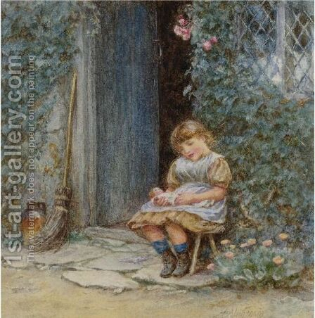 The Young Mother by Helen Mary Elizabeth Allingham, R.W.S. - Reproduction Oil Painting