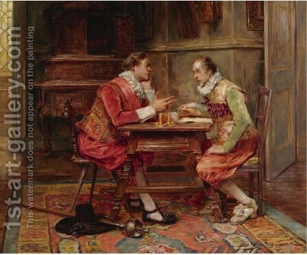 At The Money Lender by Alex De Andreis - Reproduction Oil Painting