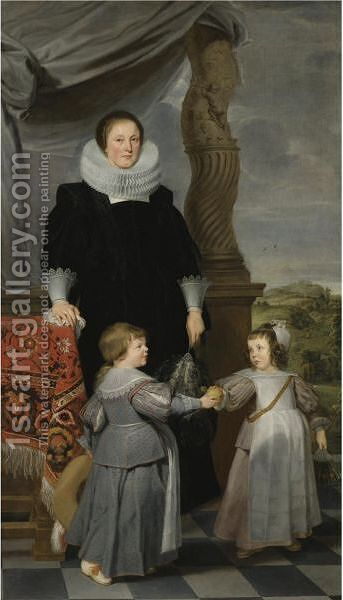 Portrait Of Mechteld Lintermans (D. 1641) And Her Two Children, Probably Jan Baptist Bierens (1620-1690) And Maria Magdalena (1622-1688) by (after) Gaspar De Crayer - Reproduction Oil Painting