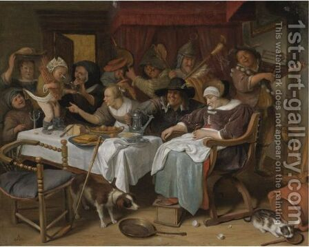 The Twelfth Night by Jan Havicksz. Steen - Reproduction Oil Painting