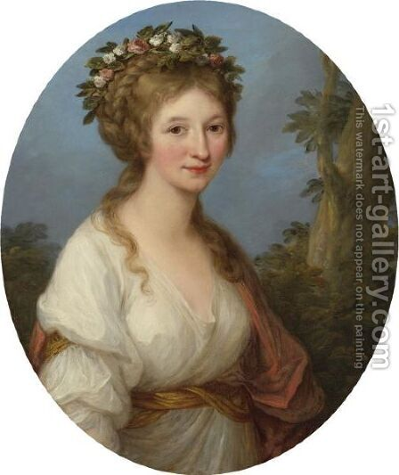 Portrait Of A Young Woman, Possibly Anna Charlotta Dorothea Von Medem, Duchess Of Courland by Angelica Kauffmann - Reproduction Oil Painting