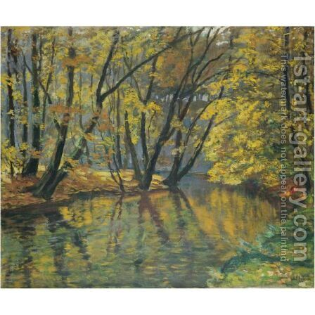 The Bela Stream In Autumn by Antonin Hudecek - Reproduction Oil Painting
