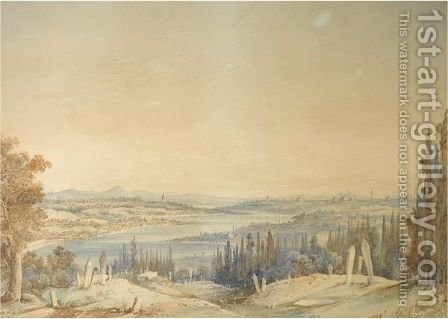 View Of Constantinople From Eyup by Amadeo Preziosi - Reproduction Oil Painting