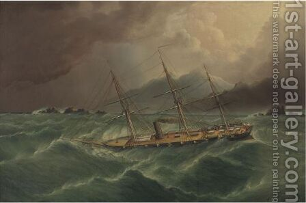 Packet Ship In A Storm At Tierra Del Fuego by James E. Buttersworth - Reproduction Oil Painting