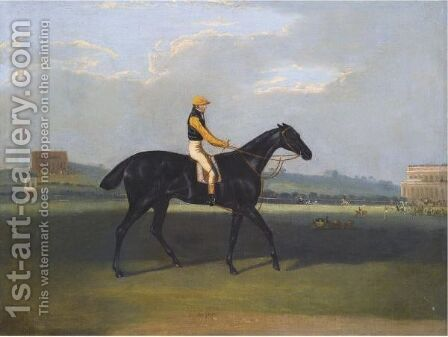 Angler, A Dark Bay Racehorse With Jockey Up by David of York Dalby - Reproduction Oil Painting