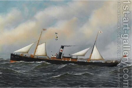 The Screw Steamer Honiton by Antonio Jacobsen - Reproduction Oil Painting