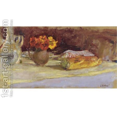 Bouquet De Capucines, Carafe Et Pain Sur Une Table by Edouard  (Jean-Edouard) Vuillard - Reproduction Oil Painting