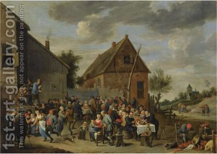 A Peasant's Wedding Feast by (after)  David The Younger Teniers - Reproduction Oil Painting