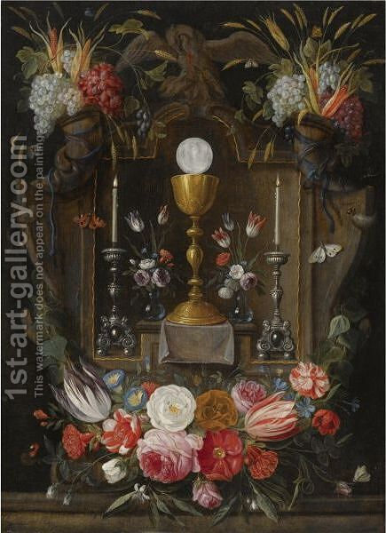 The Eucharist A Gold Chalice, A Host And Two Silver Candelabras In A Stone Niche by Jan van Kessel - Reproduction Oil Painting