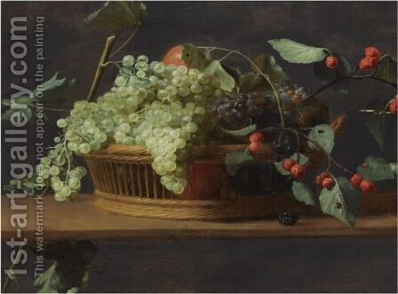 Still Life Of Blue And White Grapes, Together With Wild Strawberries, All In A Basket, On A Wooden Ledge by Jacob Foppens Van Es - Reproduction Oil Painting