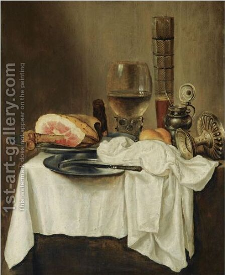 Still Life With A Roemer And A Pasglas, A Ham And A Knife On Pewter Plates by (after) Willem Claesz. Heda - Reproduction Oil Painting