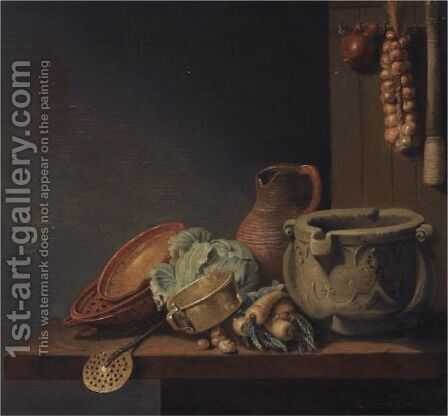 A Kitchen Still Life With A Cabbage, Onions, Parsnips, A Jug And Other Kitchen Utensils Over A Wooden Table by (after) Hubert Van Ravesteyn - Reproduction Oil Painting