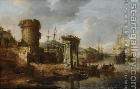 A Capriccio Of A Mediterranean Harbour With Elegant Figures Embarking A Boat, A Roman Triumphal Arch, And Dutch Men-Of-War Beyond by Jan Abrahamsz. Beerstraten - Reproduction Oil Painting