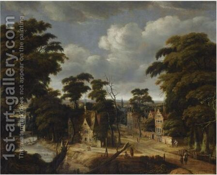 A View Of A Village In A Forest Landscape, With An Inn On The Banks Of A River by Jan Looten - Reproduction Oil Painting