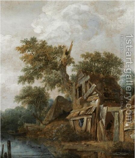 A Wooded Landscape With A Farmstead On The Banks Of A River, A Figure Entering The Cottage by Cornelius Decker - Reproduction Oil Painting