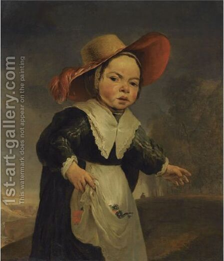 Portrait Of A Young Girl, In A Landscape, Three Quarter Length, Wearing A Red Hat by (after) Jan Baptist Weenix - Reproduction Oil Painting