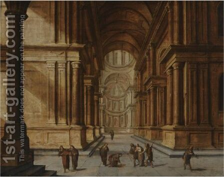 A Church Interior With Christ And The Woman Taken In Adultery by Hans Juriaensz. Van Baden - Reproduction Oil Painting