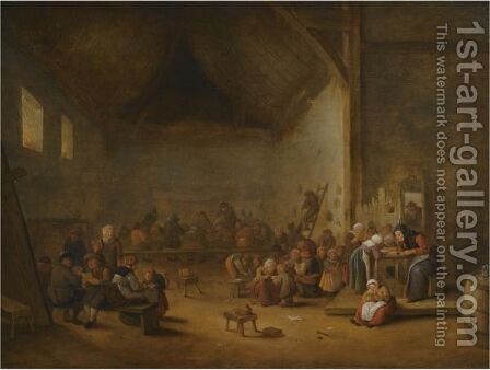 A Classroom Interior by Bartholomeus Molenaer - Reproduction Oil Painting
