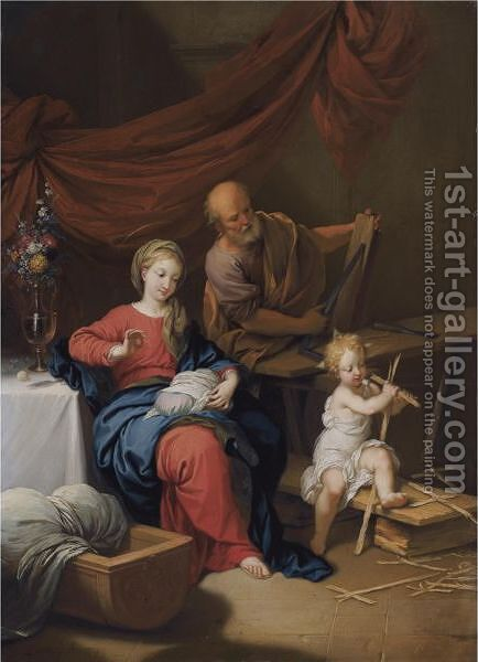 The Holy Family In An Interior With The Virgin Sowing And Joseph Woodworking by Christian Wilhelm Ernst Dietrich - Reproduction Oil Painting