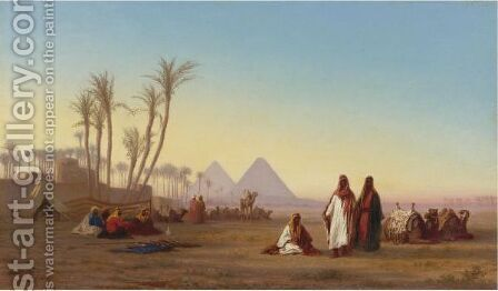 The Pyramids Of Giza, Egypt by Charles Théodore Frère - Reproduction Oil Painting