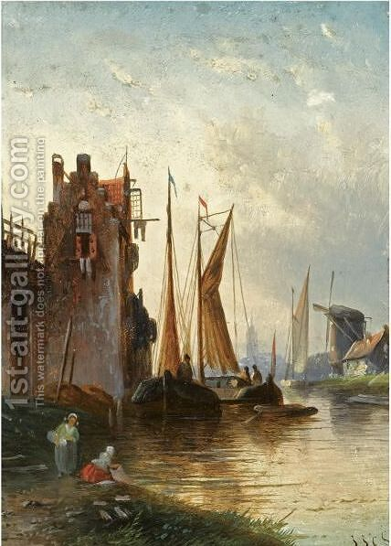 A River Scene At Dusk by Jan Jacob Coenraad Spohler - Reproduction Oil Painting