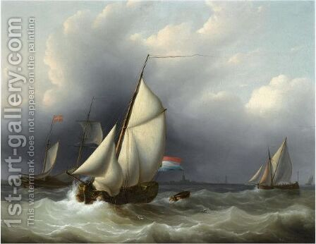 Shipping In Choppy Waters by Martinus Schouman - Reproduction Oil Painting
