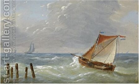 Shipping In Choppy Waters by Charles Louis Verboeckhoven - Reproduction Oil Painting