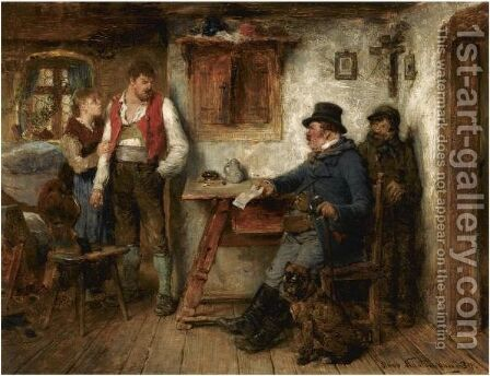An Unexpected Visitor by Hugo Kauffmann - Reproduction Oil Painting