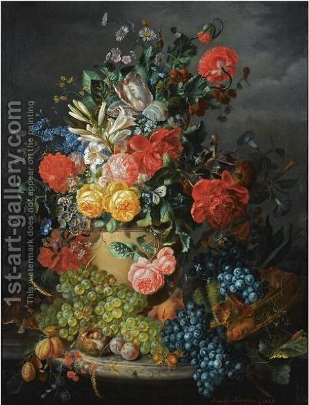 A Flower Still Life With Grapes by Amalie Kaercher - Reproduction Oil Painting